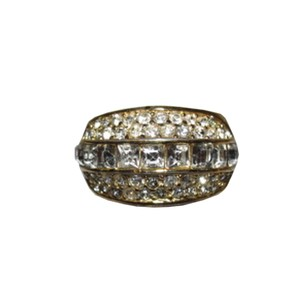 Dior Christian Dior 18 kt Gold Plated Rhinestone Pave Ring