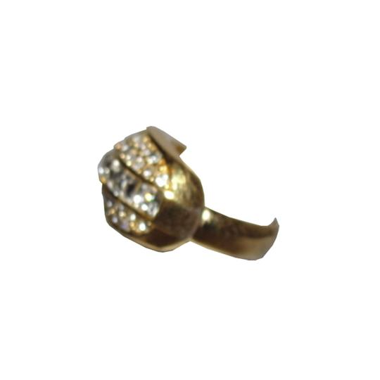 Dior Christian Dior 18 kt Gold Plated Rhinestone Pave Ring Image 2