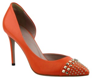 Gucci Leather T-strap Orange Pumps