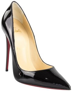 Christian Louboutin So Kate New Patent Leather Nude Black Pumps