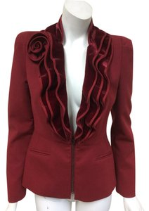 Magaschoni Velvet Ruffle Flower Blood Burgundy Deep Red Blazer
