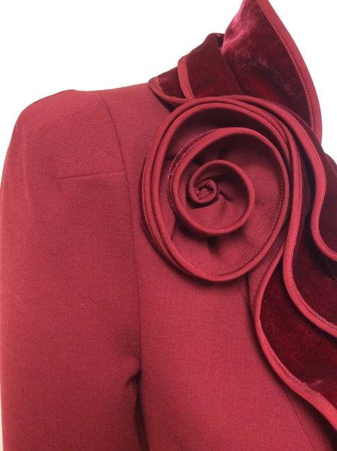 Magaschoni Velvet Ruffle Flower Blood Burgundy Deep Red Blazer Image 10