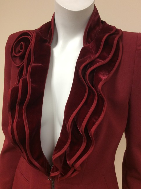 Magaschoni Velvet Ruffle Flower Blood Burgundy Deep Red Blazer Image 3