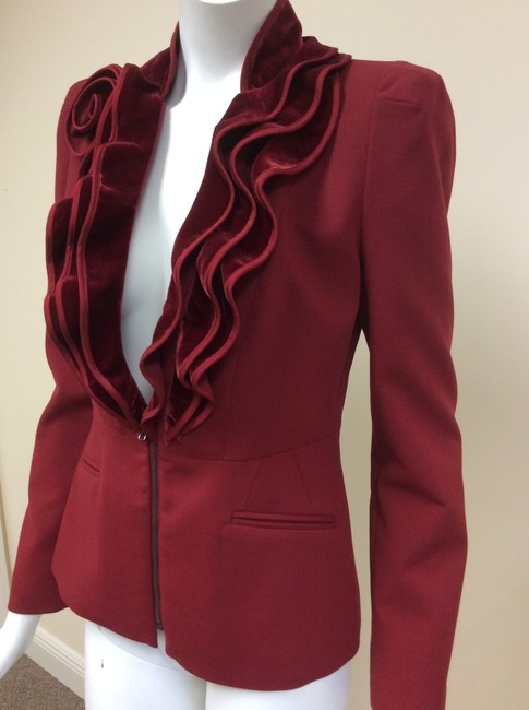 Magaschoni Velvet Ruffle Flower Blood Burgundy Deep Red Blazer Image 4
