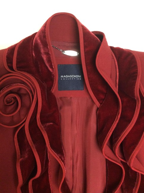 Magaschoni Velvet Ruffle Flower Blood Burgundy Deep Red Blazer Image 5