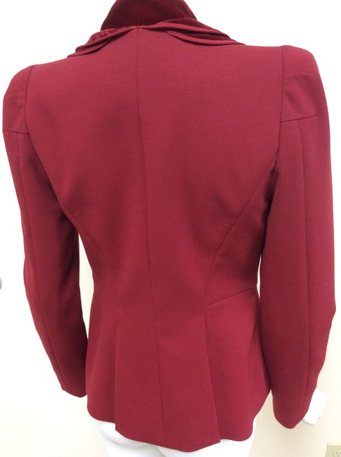 Magaschoni Velvet Ruffle Flower Blood Burgundy Deep Red Blazer Image 7
