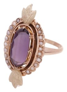 Fine Jewelry 10K Yellow Gold Antique Amethyst & Seed Pearl Ring