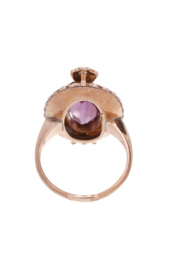 Fine Jewelry 10K Yellow Gold Antique Amethyst & Seed Pearl Ring Image 1