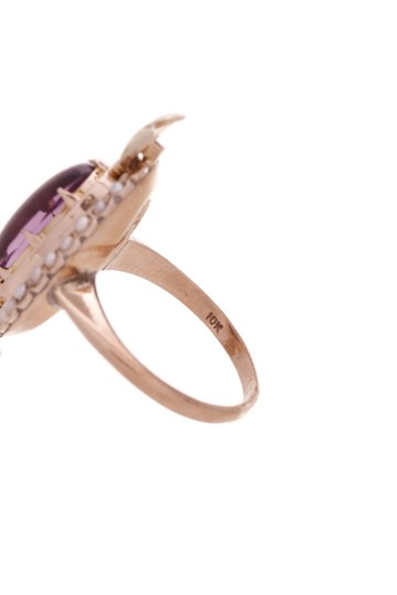 Fine Jewelry 10K Yellow Gold Antique Amethyst & Seed Pearl Ring Image 3