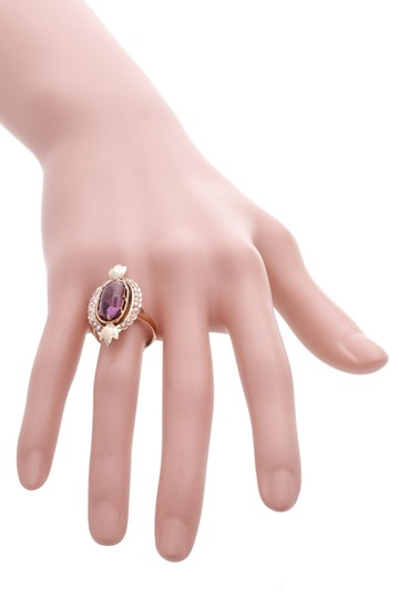 Fine Jewelry 10K Yellow Gold Antique Amethyst & Seed Pearl Ring Image 4
