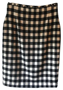 Escada Vintage Wool Cashmere Houndstooth Skirt Checked