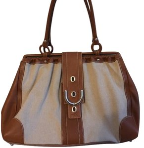 Tod's Vintage Limited Edition Satchel in tan beige canvas linen