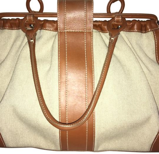 Tod's Vintage Limited Edition Satchel in tan beige canvas linen Image 1