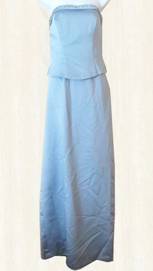 Alfred Angelo Blue Satin 2 Piece Rhinestone Gown Formal Bridesmaid/Mob Dress Size 10 (M)