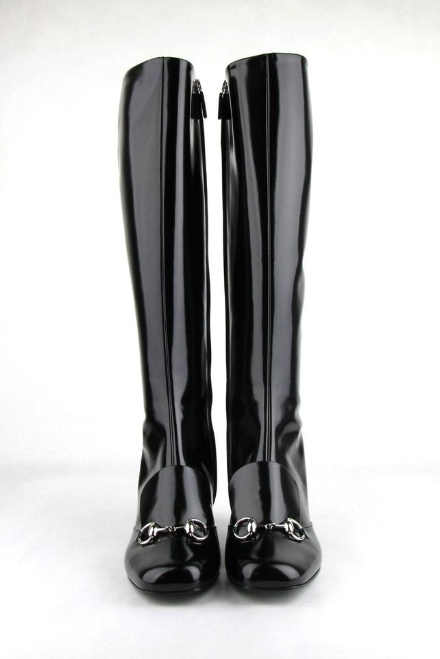 2d12ca056b2 Gucci Black Horsebit Patent Leather Knee with Silver 40 Us 10 362949 Boots Booties  Size EU 40 (Approx. US 10) Regular (M