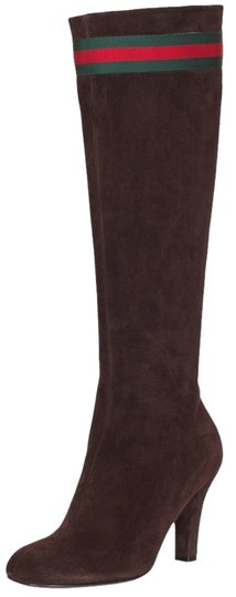 Gucci Suede Red Green Stripe Brown Boots