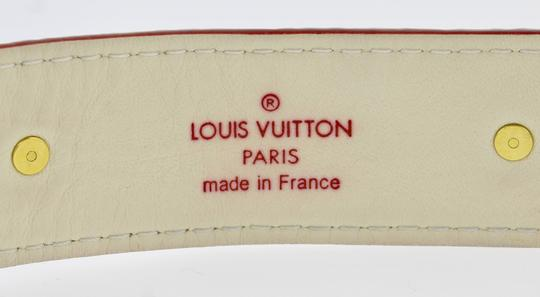 Louis Vuitton Authentic Louis Vuitton Studded White Gold Red Belt LV