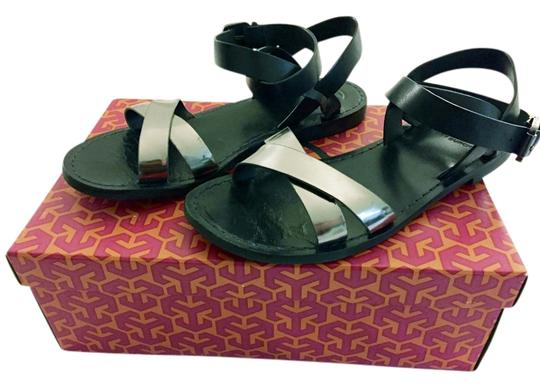 Tory Burch Gladiator Flat Metallic Navy & Pewter Sandals