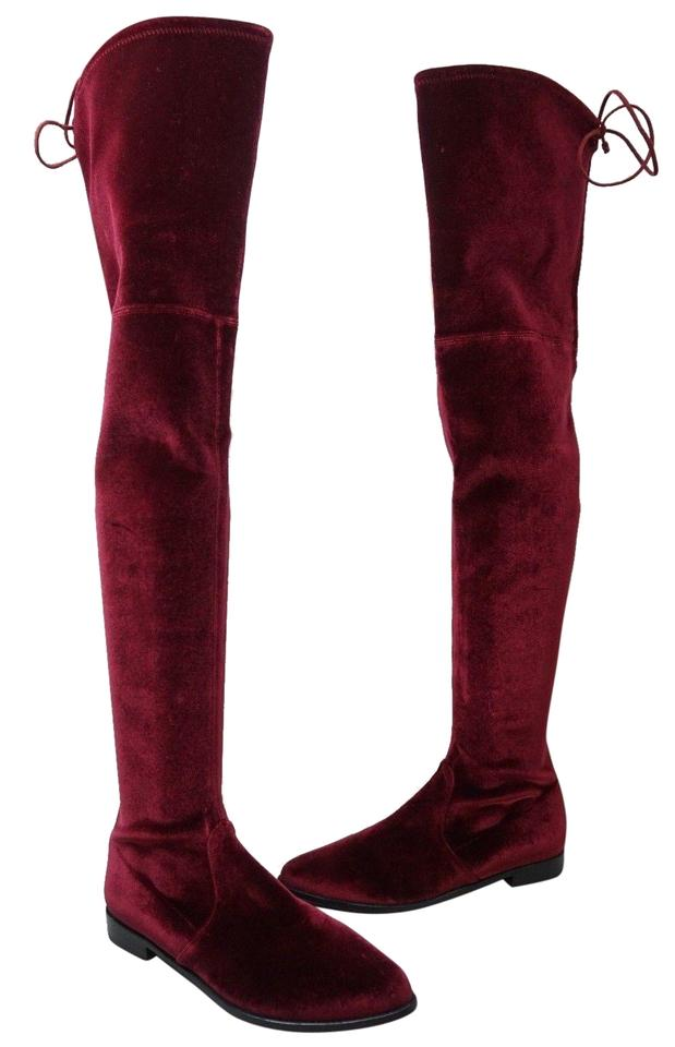 7f017159f75 Stuart Weitzman Burgundy Women s Leggylady Over The Knee Velvet ...