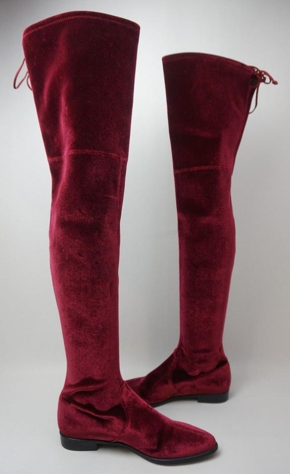 b4d2da072d2 Stuart Weitzman Burgundy Women s Leggylady Over The Knee Velvet Boots  Booties Size US 9 Regular (M