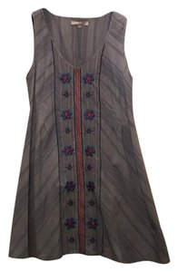 3J Workshop short dress Floral Embroidered Chambray Dress on Tradesy