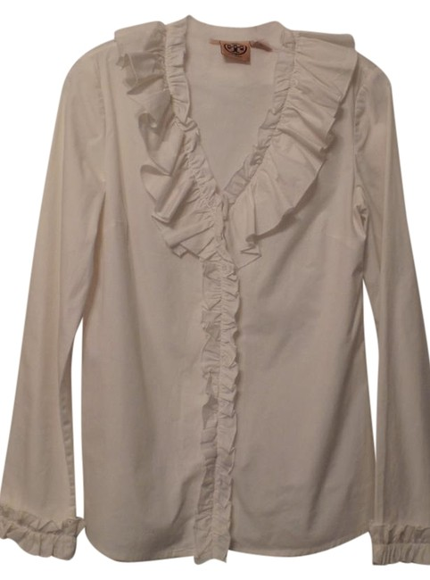 Preload https://img-static.tradesy.com/item/22112231/tory-burch-white-ruffle-detail-cotton-rayon-light-button-up-s-blouse-size-6-s-0-1-650-650.jpg