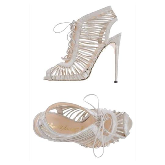 Alberto Moretti cream & metallic silver Pumps