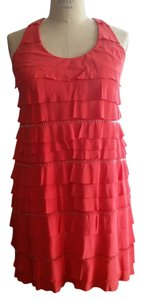 BCBGMAXAZRIA Flapper Knee Lenght Beaded Mesh Lining Dress