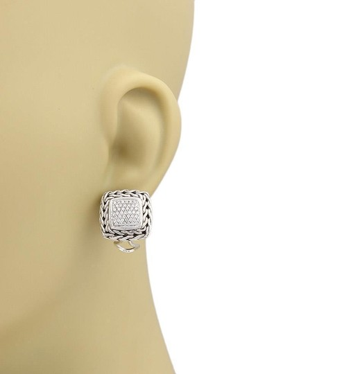 John Hardy Classic Chain Diamond Sterling Silver Square Earrings Image 1