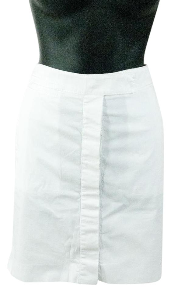 dfe383f4512c Diane von Furstenberg White Denim Fitted Pencil Skirt Size 8 (M, 29 ...