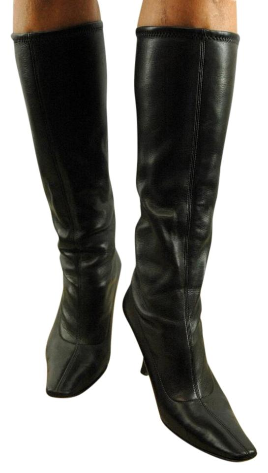 c0be53ac2b Prada Brown Stretch Leather Pointy Toe Kitten Boots/Booties Size EU ...