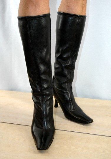 Prada Leather Stretch Leather Pointy Toe Brown Boots Image 1