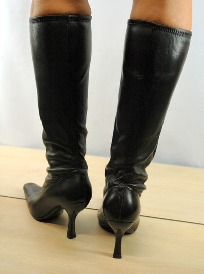 Prada Leather Stretch Leather Pointy Toe Brown Boots Image 3