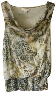 Weston Wear Leopard Cowl Sleeveless Sexy Top Multi- beige, gold, black