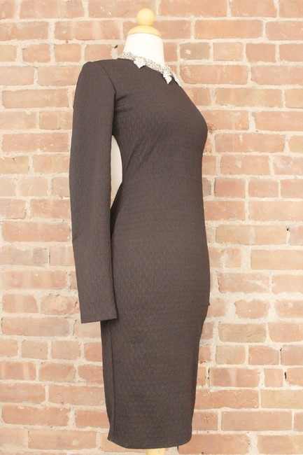 Forever 21 Cocktail Bodycon Wear To Work Zipper Jersey Knit Dress Image 9