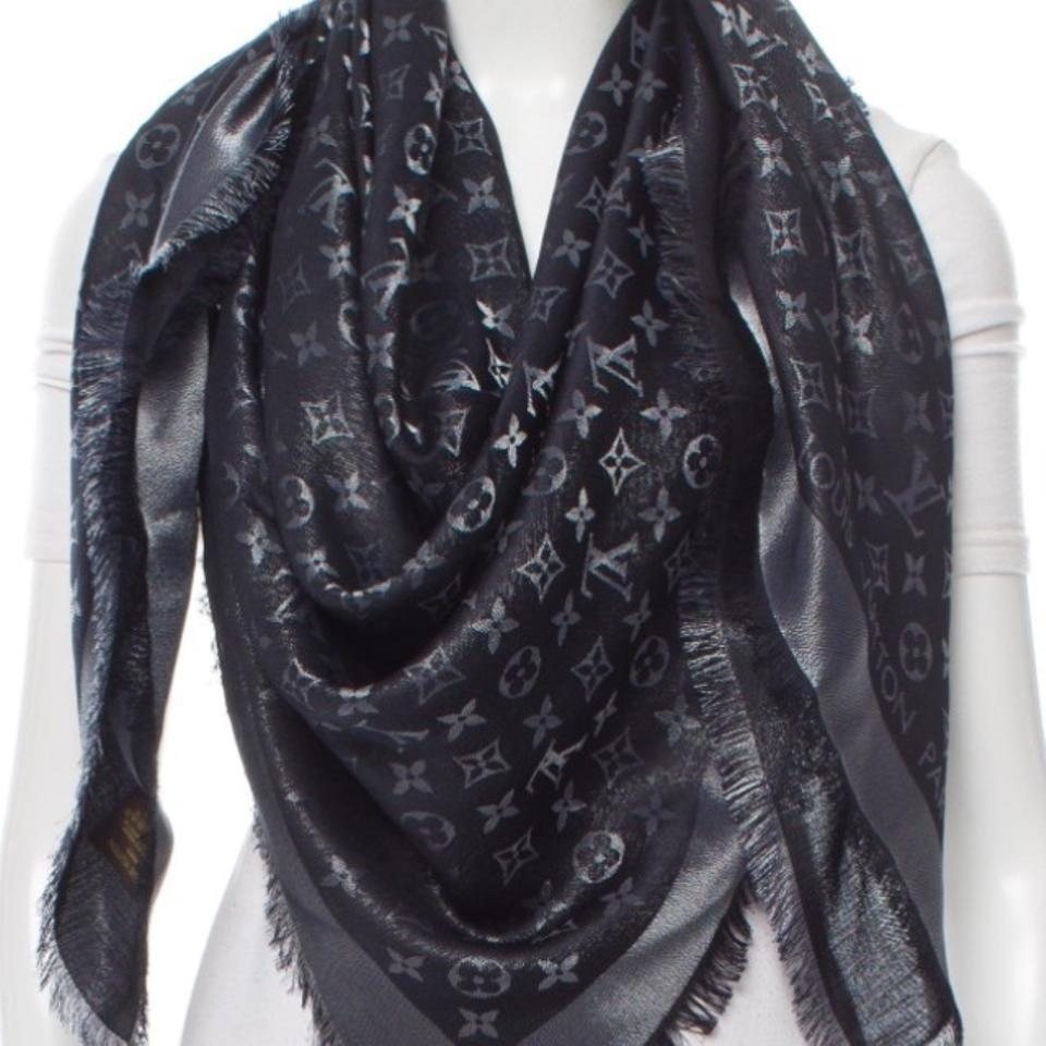a1d8191d8 Louis Vuitton Louis Vuitton Large Monogram Black & Silver Shine Shawl Image  5. 123456