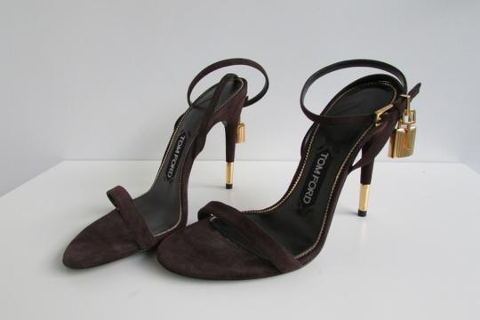 Tom Ford Brown Suede Padlock Sandals Image 3