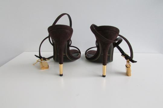 Tom Ford Brown Suede Padlock Sandals Image 4
