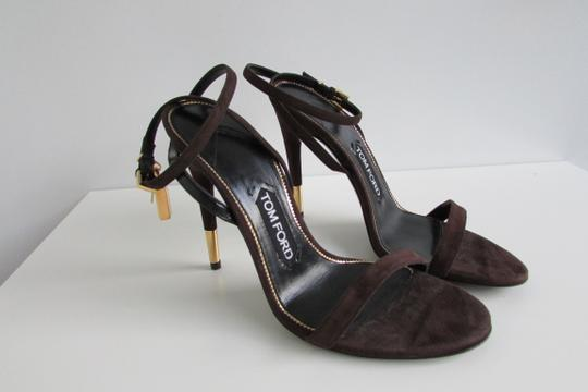 Tom Ford Brown Suede Padlock Sandals Image 7