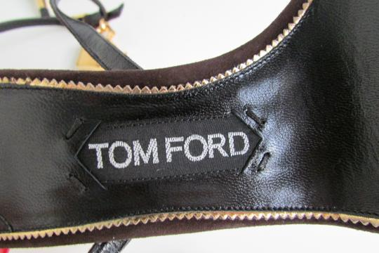 Tom Ford Brown Suede Padlock Sandals Image 8