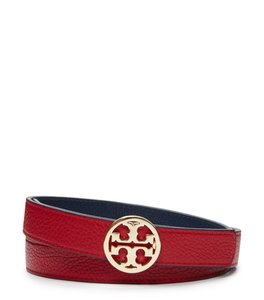 Tory Burch Tory Burch Taupe pebble leather Reva logo Red Belt