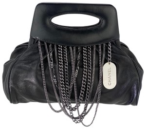 Chanel Top Handle Smooth Calfskin Leather Black Clutch