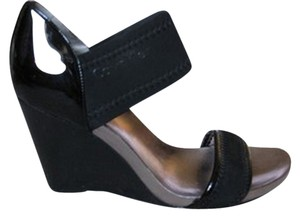 Calvin Klein Wedge Patent Rubber Black Wedges