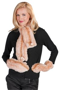 madisonavemall Knitted Fur Scarf and Glove Set - Apricot Beige