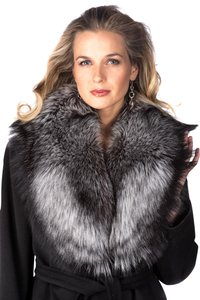 madisonavemall Natural Silver Fox Fur Collar