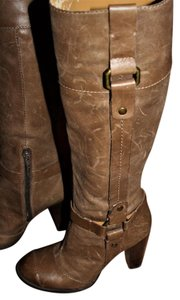 Nine West Buckle Brass Buckle Deep Olive Brown True Leather - 70's Inspired Boots