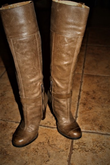 Nine West Buckle Brass Buckle Deep Olive Brown True Leather - 70's Inspired Boots Image 1
