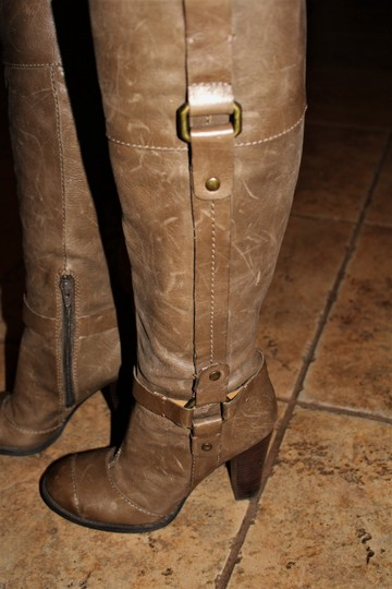 Nine West Buckle Brass Buckle Deep Olive Brown True Leather - 70's Inspired Boots Image 5