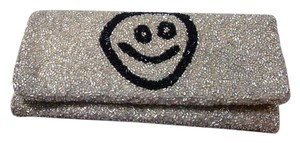 Moyna Hand Beaded India Smiley Face Silver Clutch