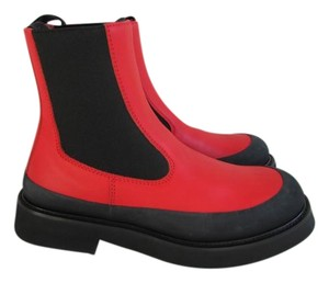 Céline Bright Red Leather Boots